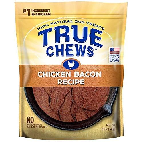 True Chews Dog Treats Premium Chicken Bacon Jerky 12Oz Made In Usa (1 Pack)