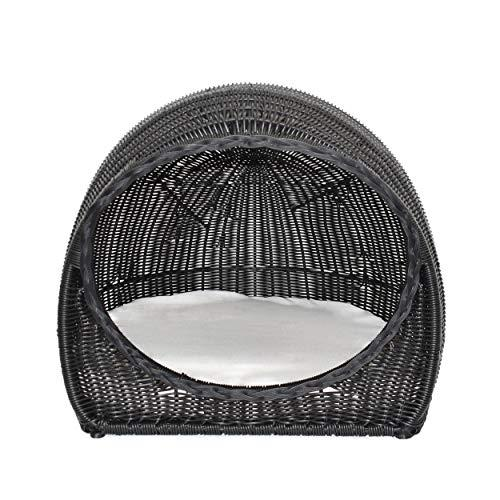 Christopher Knight Home Aidan Indoor Wicker Igloo Pet Bed with Cushion, Black and Beige