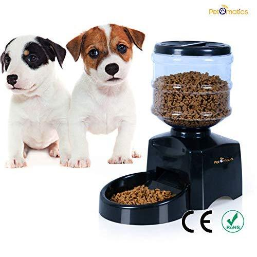 Petomatics 5.5L Automatic Pet Feeder For Dogs & Cats | Electronic Control Feeder, Non-Toxic, Safe For All Pets Large Lcd Screen & Voice Record, Black