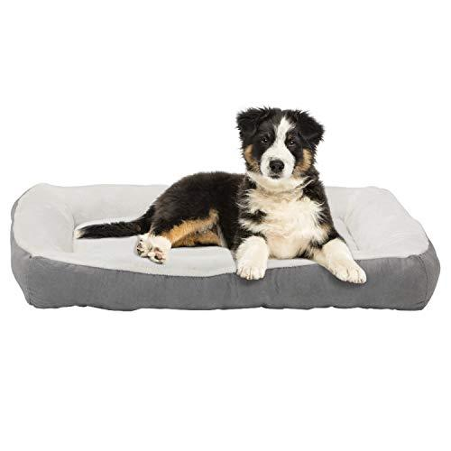 Happycare Textiles Rectangle Gray Low Bumper Pet Bed, 40 X 30 Inches, Plush And Non-Slip Buttom