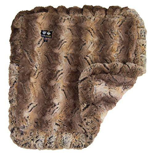 Bessie And Barnie Simba (Ruffles) Luxury Ultra Plush Faux Fur Pet, Dog, Cat, Puppy Super Soft Reversible Blanket (Multiple Sizes)