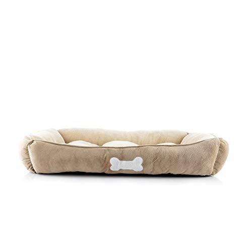 Long Rich Large Rectangle Pet Bed, Khaki, By Happycare Textiles, Beige
