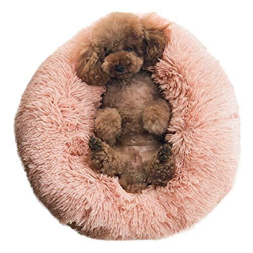 Binetgo Dog Bed Cat Bed Cushion Bed Faux Fur Self-Warming Cat And Dog Bed Cushion For Joint-Relief And Improved Sleep - Machine Washable, Waterproof Bottom 18 X 18 X 5.5-Inch (Pink)