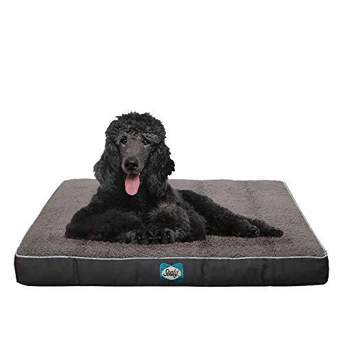 Sealy Cushy Comfy Pet Dog Bed | Memory And Orthopedic Foam With Cooling Energy Gel Dog Pet Bed With Machine Washable Sherpa Top And Water Resistant Inner Liner, Large Grey