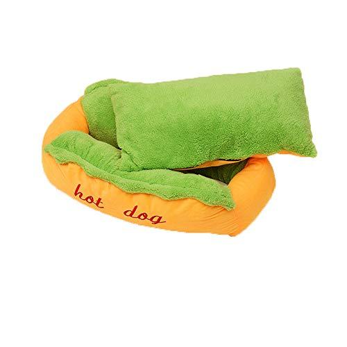 Glumes Pet Hot Dog Design Pet Dog Bed,Soft Removable And Washable Pet Mat Dog House Dot Small Pet Animal Small Dog Bed Ideal (L, Yellow)