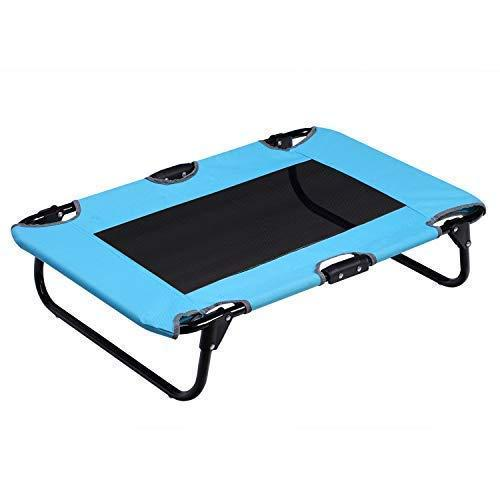 Portable Folding Pet Cot Rest Bed For Pets Up To 50 Lbs, Space-Saving Easy To Clean Up 29.9 X 23.2 X 6.7 Inches Sky Blue