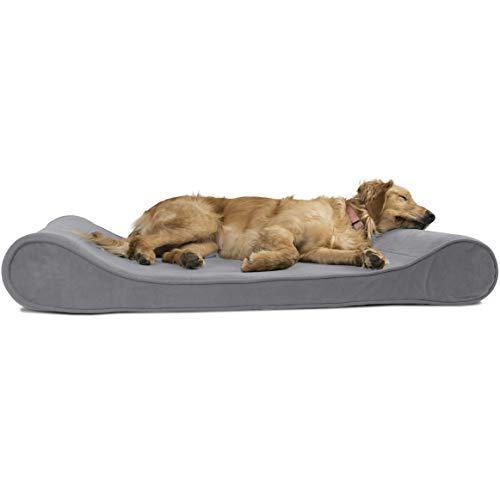 Furhaven Pet Dog Bed   Orthopedic Micro Velvet Ergonomic Luxe Lounger Cradle Mattress Contour Pet Bed For Dogs & Cats, Gray, Jumbo