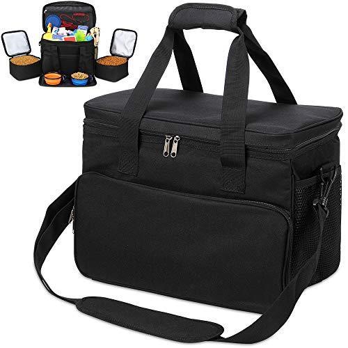 Kopeks Dog Cat Pet Travel Bag Thermal Bag With Compartments Bowl And Drinker Foldable Travel Kit - Black