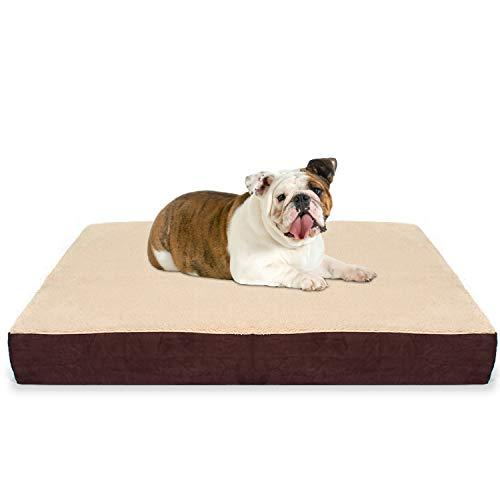 Kopeks Large Rectangular Orthopedic Memory Foam Dog Bed - Includes Waterproof Inner Protector & Removable Cover - Brown