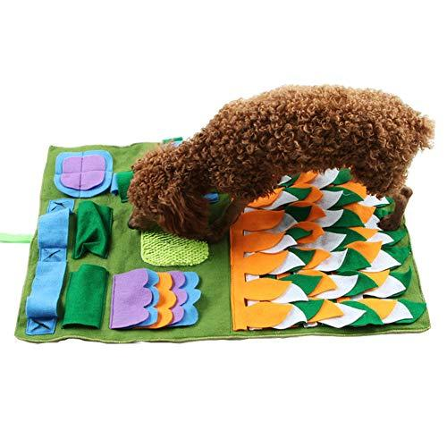 Luck Dawn Dog Snuffle Mat, Soft Felt Dog Smell Training Mat For Encourages Natural Foraging Skills (Green Rectangle)