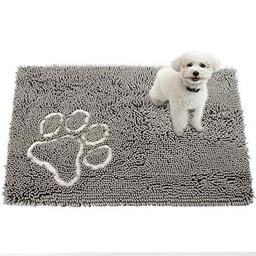 Comfy Soft Pet Dog Mats Beds For Car, Floor, Crate, Pets Feeding Beds Mats Rugs For Food And Water, Absorbent Door Mat For Dogs, High Absorbent Water And Dries Quickly Grey, 24X36