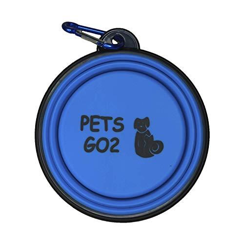 Pets Go2 Collapsible Dog Bowl, Foldable Expandable Cup Dish For Pet Cat Food Water Feeding   Portable Travel Bowl   Free Carabiner