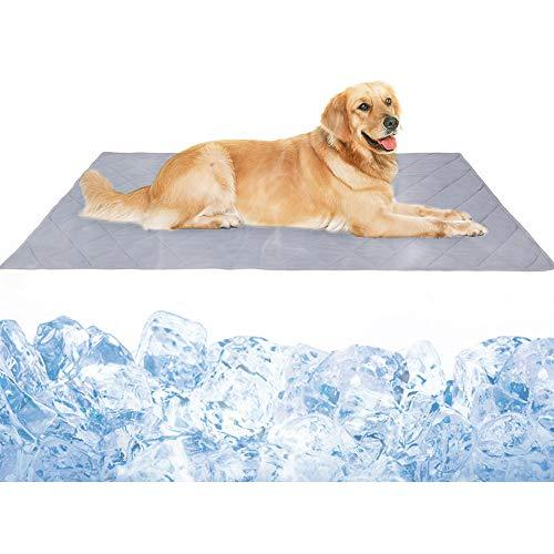 Dog Cooling Mat, Large Cooling Pad For Dogs & Cats, Pet Self Cooling Blanket For Floor, Kennels, Crates And Beds, Summer Dog Bed Mats, High-Tech Fiber, Soft Breathable Reversible Machine Washable