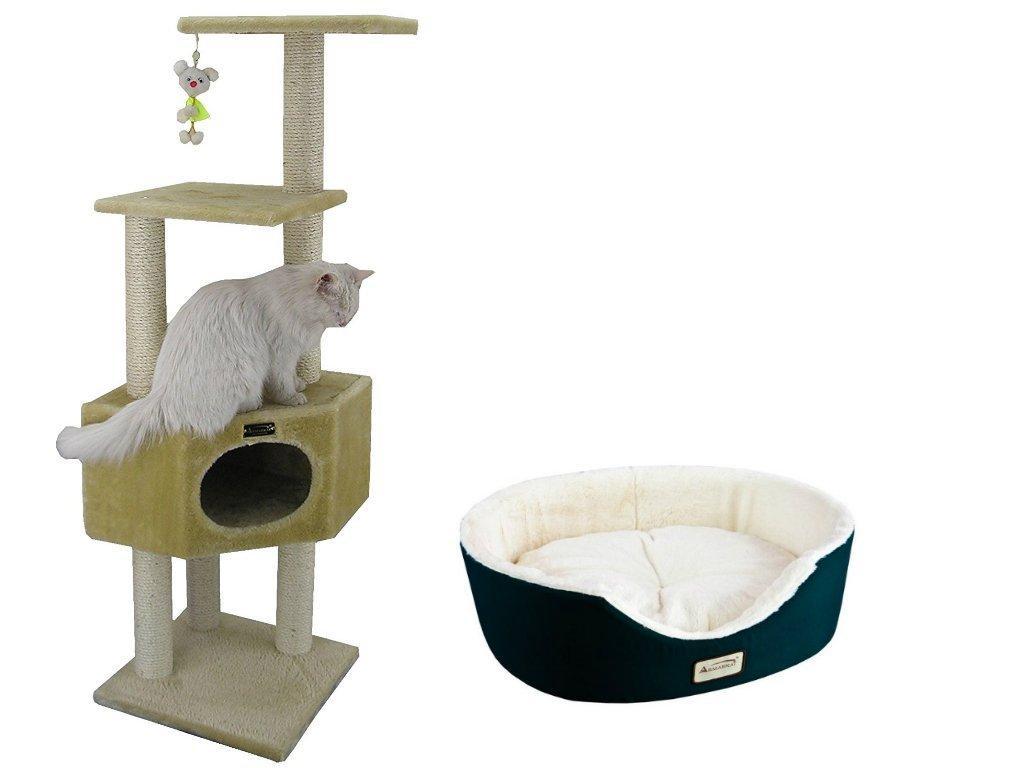 Armarkat Combo Cat Tree, Beige With Pet Bed, Laurel Green