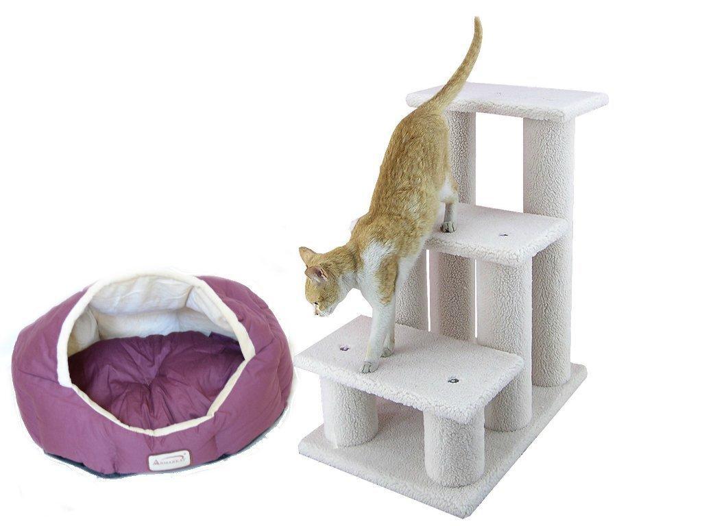 Armarkat Combo Pet Steps, 3 Steps, ivry With Cat Bed, Beige