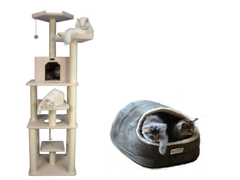Armarkat Combo Cat Tree, ivry With Cat Bed, Green