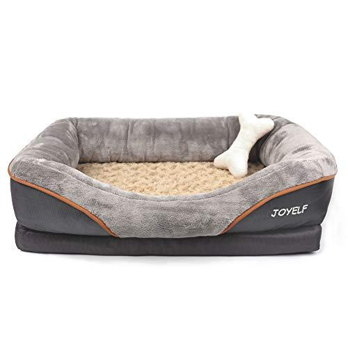 JOYELF Large Memory Foam Dog Bed, Orthopedic Dog Bed & Sofa with Removable Washable Cover and Squeaker Toy as Gift
