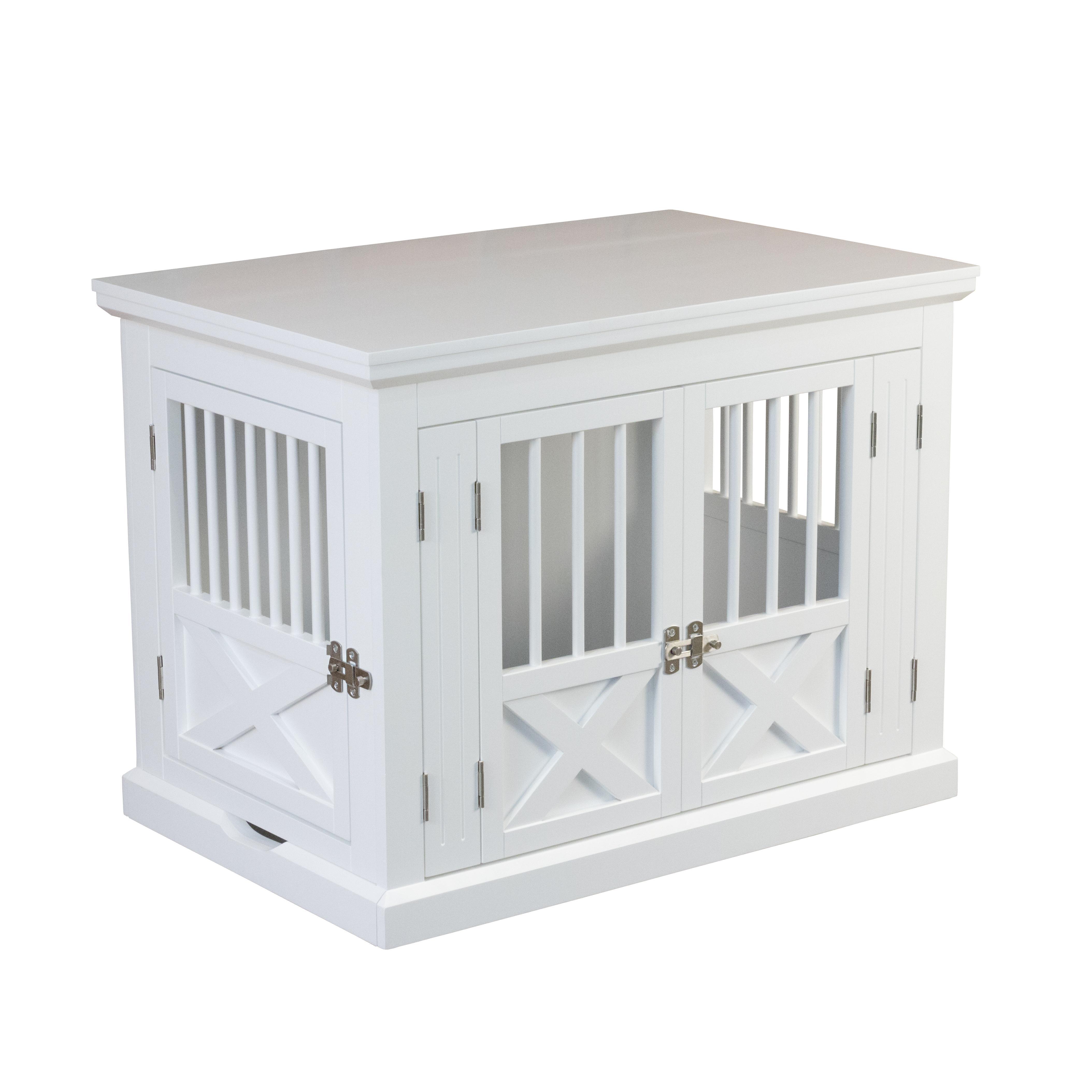 Triple Door Dog Crate, White, Medium