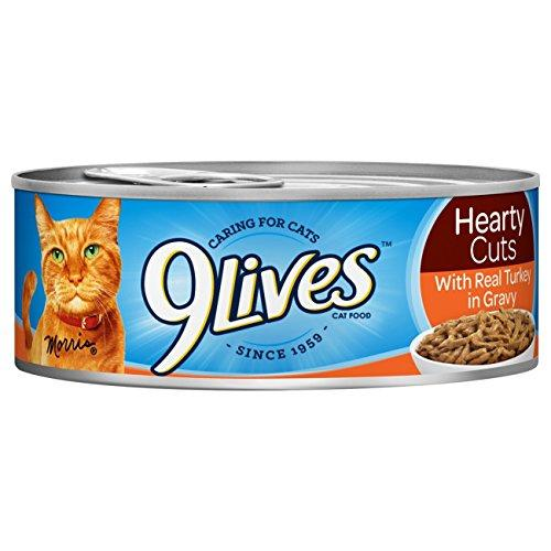 9Lives Hearty Cuts With Real Turkey In Gravy Wet Cat Food, 4/5.5-Ounce Cans (Pack Of 6)