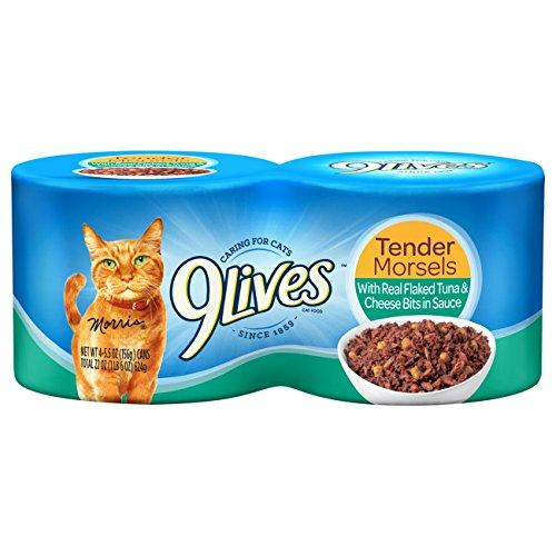 9Lives Tender Morsels With Real Flaked Tuna  Cheese Bits In Sauce Wet Cat Food, 4/5.5-Ounce Cans (Pack Of 6)