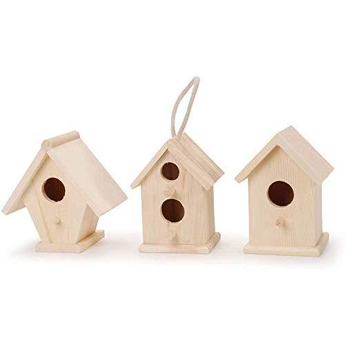 Darice Unfinished Natural Wood Decorative Birdhouse - Light Wood, Assorted Styles - Great For Holiday And Home DeCor Projects - Decorate With Paint, Tiles, Decoupage And More - 4.5