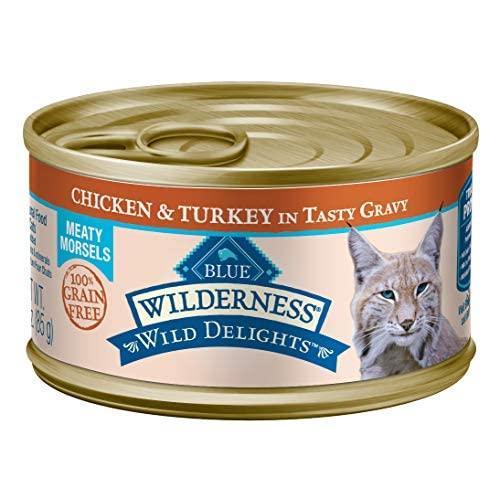 BLUE Wilderness Wild Delights Adult Grain-Free Meaty Morsels Chicken & Turkey in Tasty Gravy Wet Cat Food 3-oz (pack of 24)