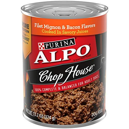Purina Alpo Wet Dog Food, Chop House Filet Mignon & Bacon Flavor - (12) 13.2 Oz. Cans