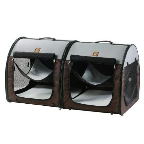 One For Pets Fabric Portable Dog Cat Kennel Shelter, Double, Grey/Brown - Travel Carrier, Double Portable Hammock, 20