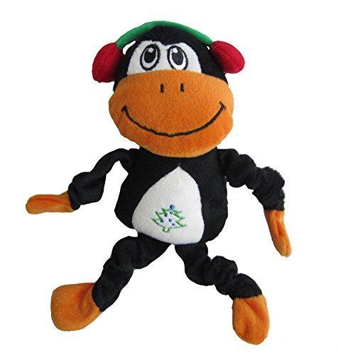 Iconic Pet Christmas Monkey Holiday Plush Stuffed Squeaky Pet Dog Toy