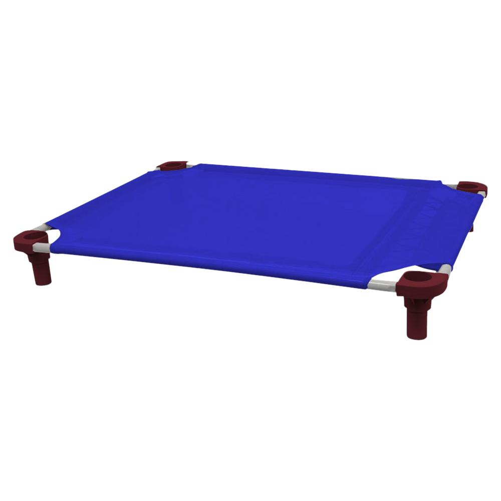 40x30 Pet Cot in Blue with Burgundy Legs, Unassembled