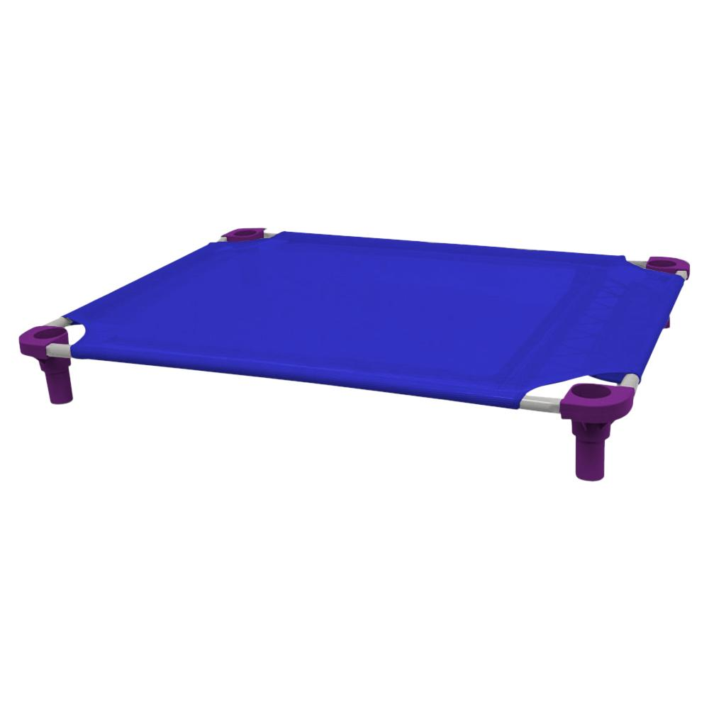 40x30 Pet Cot in Blue with Purple Legs, Unassembled