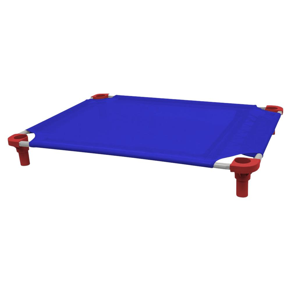 40x30 Pet Cot in Blue with Red Legs, Unassembled