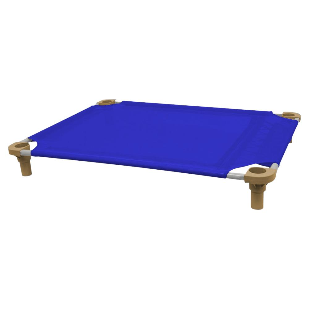 40x30 Pet Cot in Blue with Tan Legs, Unassembled
