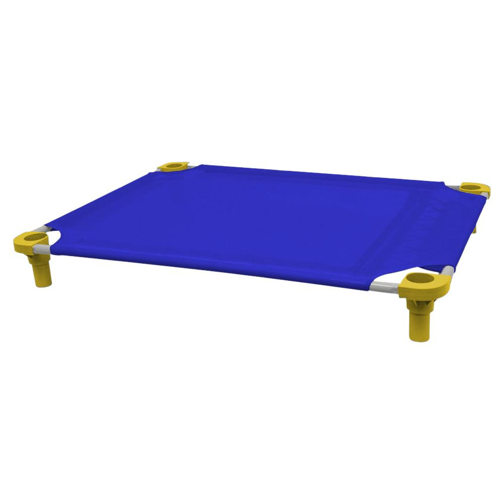 40x30 Pet Cot in Blue with Yellow Legs, Unassembled
