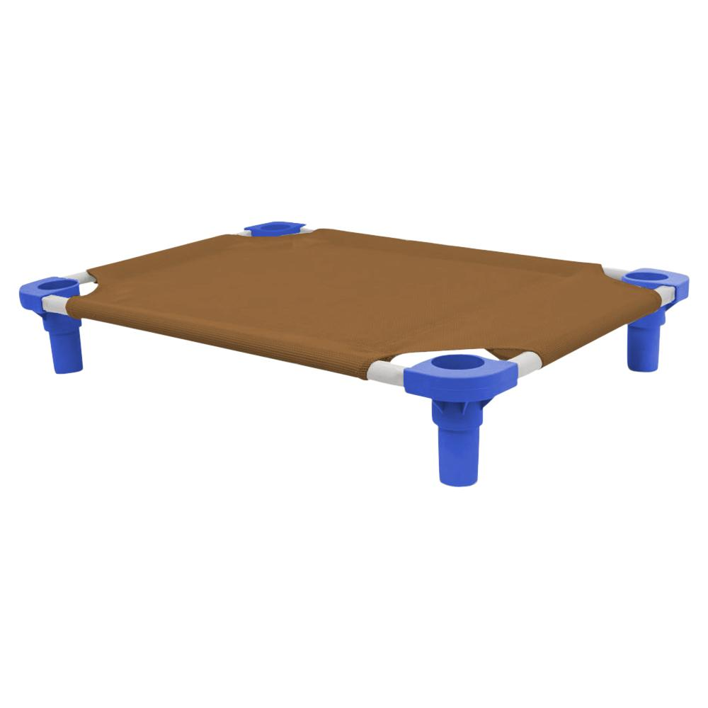 30x22 Pet Cot in Brown with Blue Legs, Unassembled