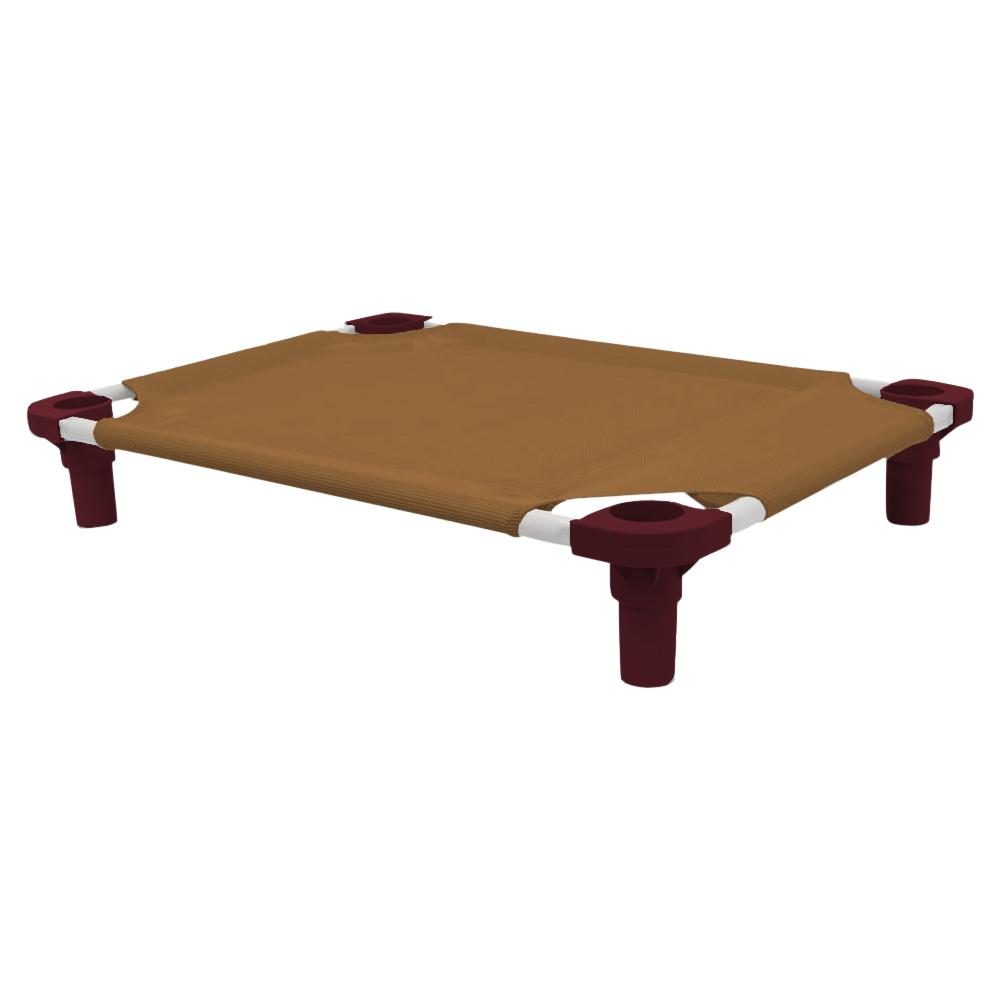 30x22 Pet Cot in Brown with Burgundy Legs, Unassembled