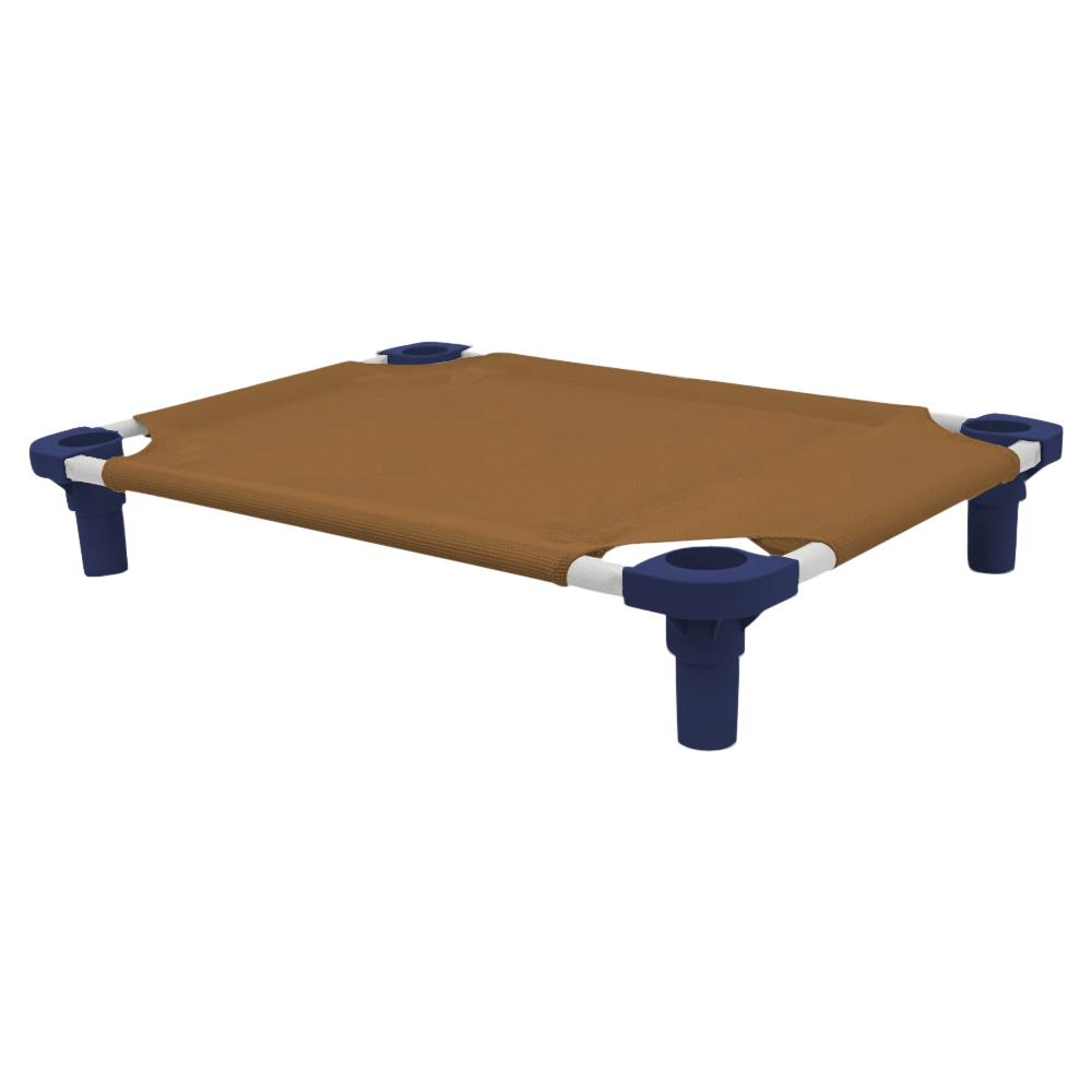 30x22 Pet Cot in Brown with Navy Legs, Unassembled