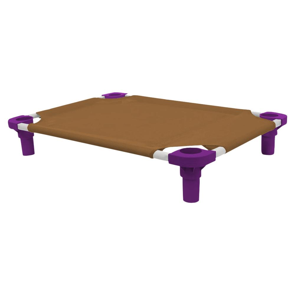 30x22 Pet Cot in Brown with Purple Legs, Unassembled