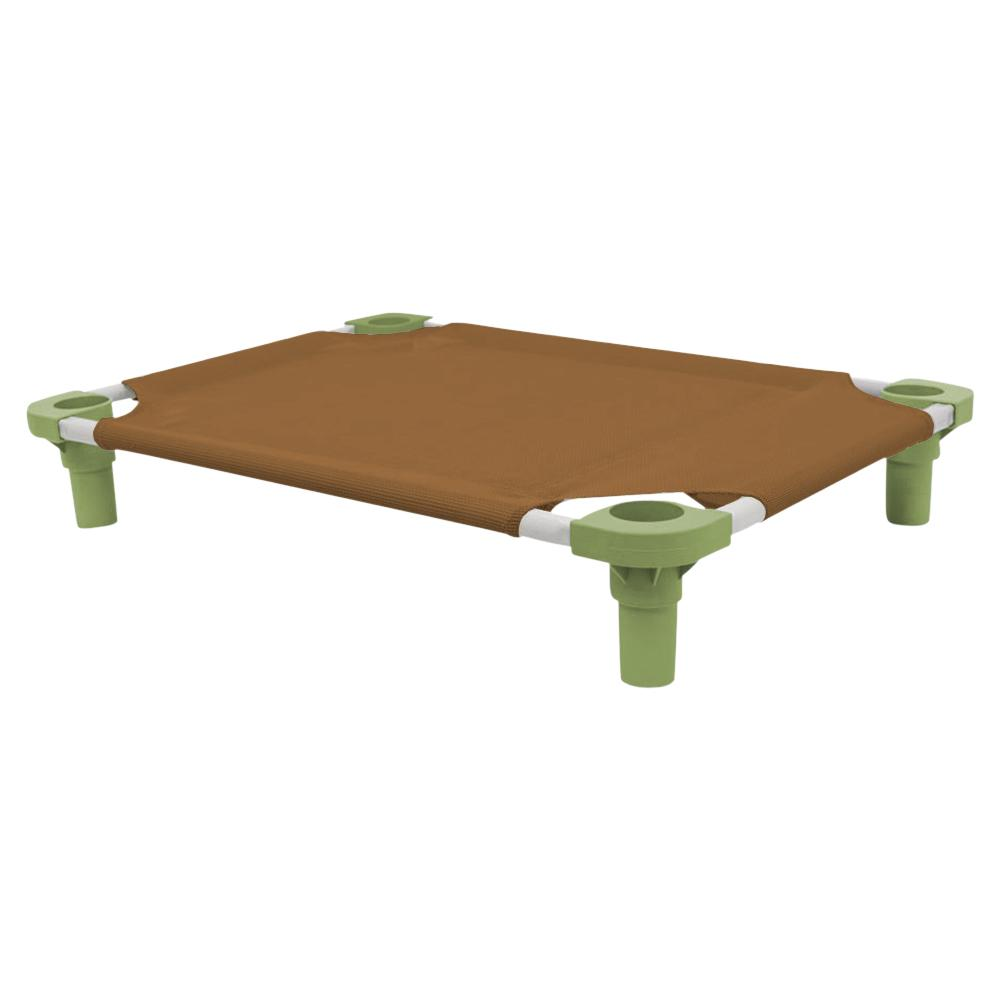 30x22 Pet Cot in Brown with Sage Legs, Unassembled