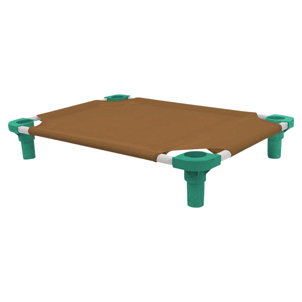 30x22 Pet Cot in Brown with Teal Legs, Unassembled