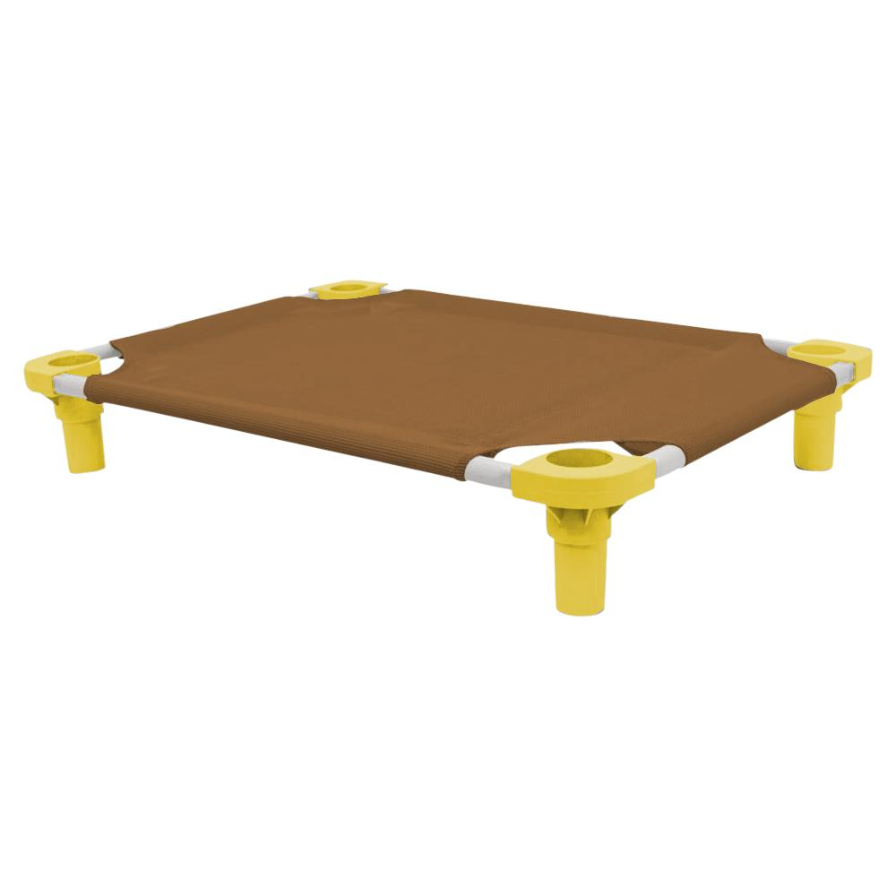 30x22 Pet Cot in Brown with Yellow Legs, Unassembled