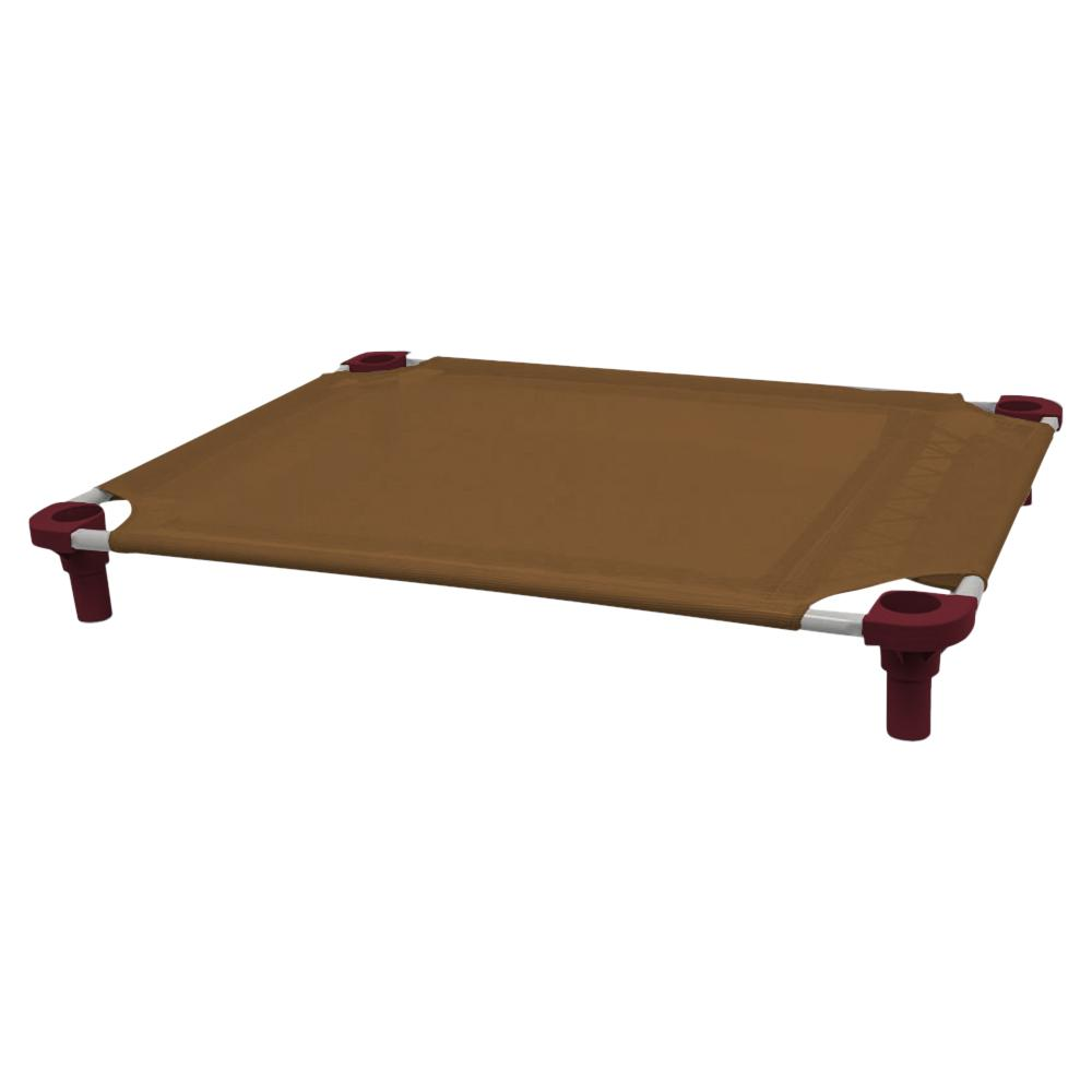 40x30 Pet Cot in Brown with Burgundy Legs, Unassembled