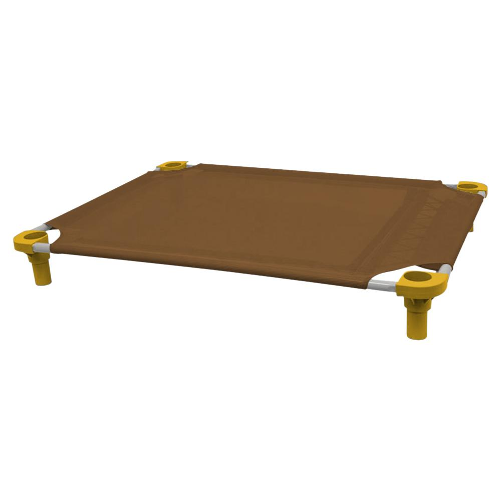 40x30 Pet Cot in Brown with Gold Legs, Unassembled