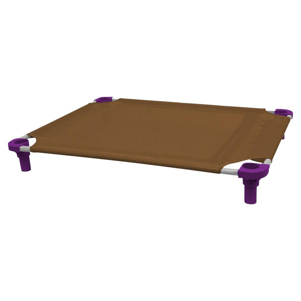 40x30 Pet Cot in Brown with Purple Legs, Unassembled