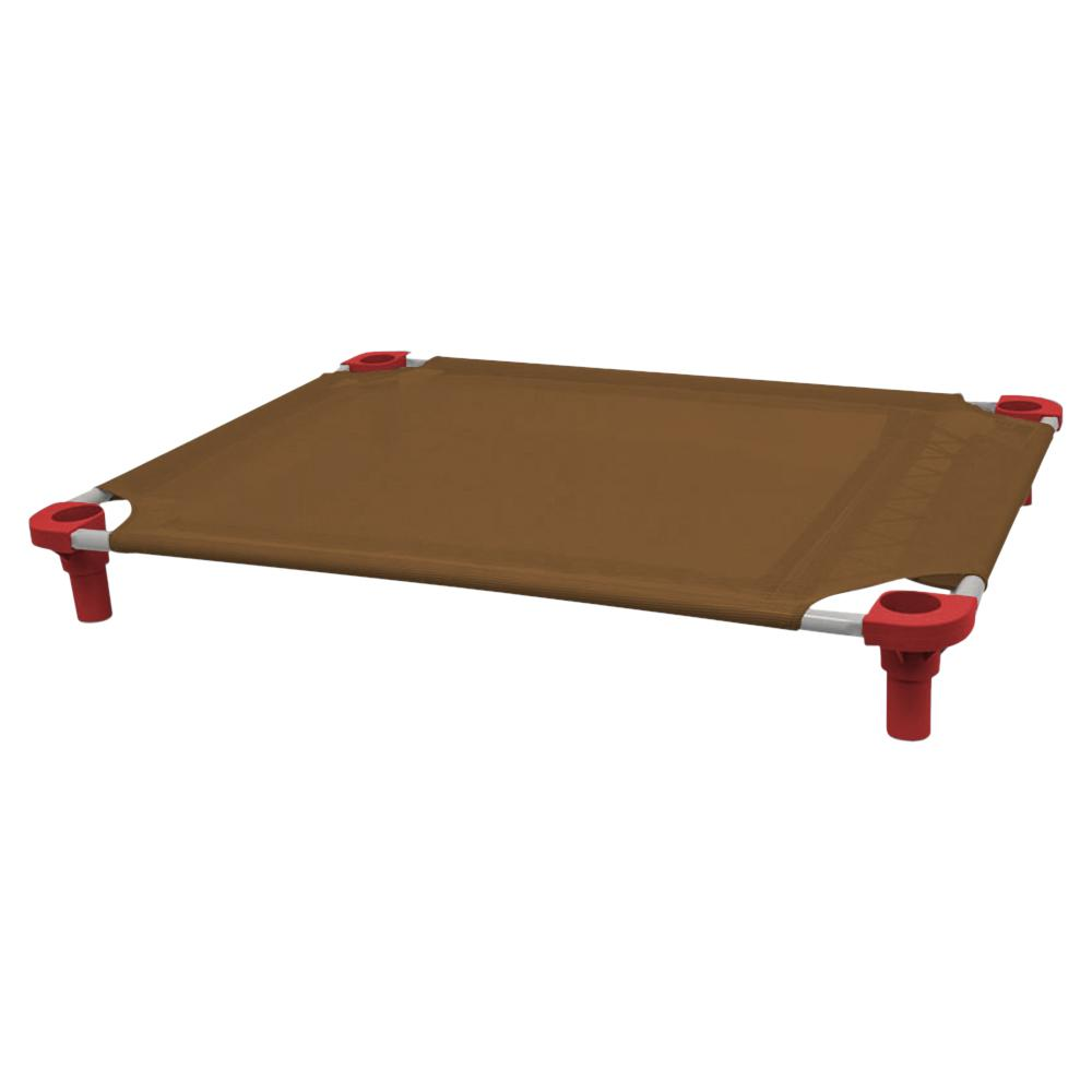 40x30 Pet Cot in Brown with Red Legs, Unassembled