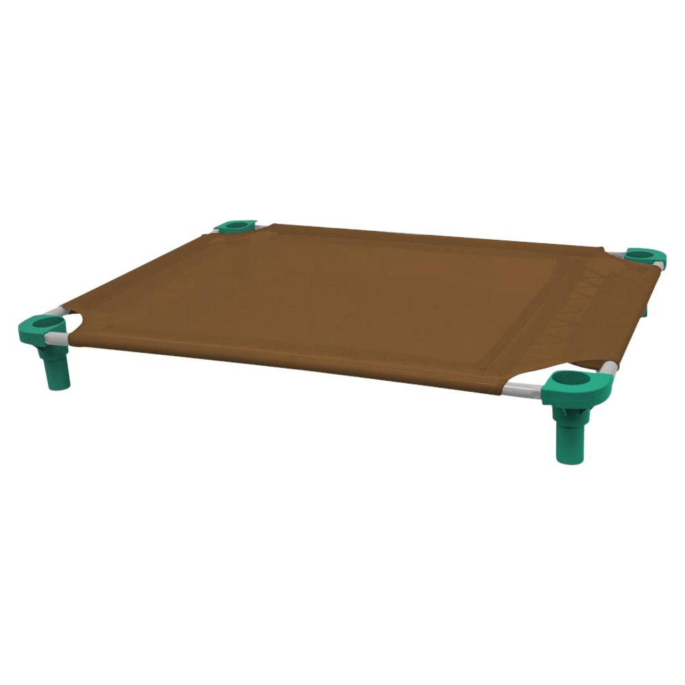 40x30 Pet Cot in Brown with Teal Legs, Unassembled
