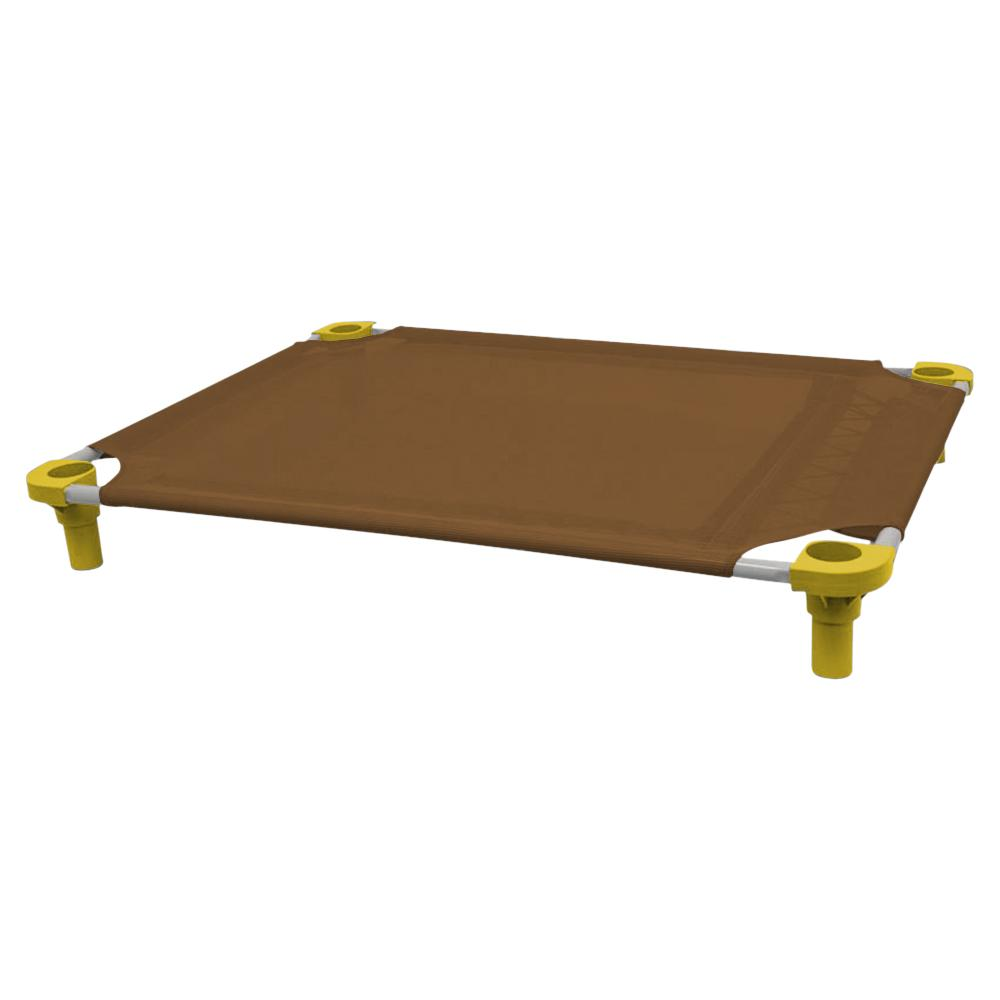 40x30 Pet Cot in Brown with Yellow Legs, Unassembled