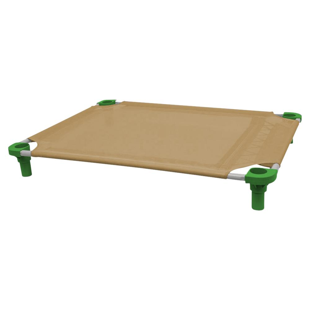 40x30 Pet Cot in Tan with Dustin Green Legs, Unassembled