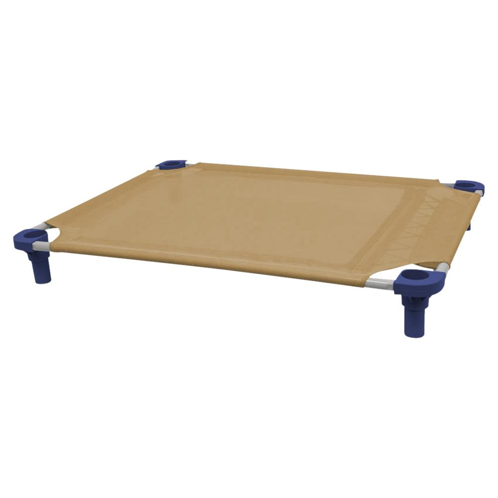 40x30 Pet Cot in Tan with Navy Legs, Unassembled