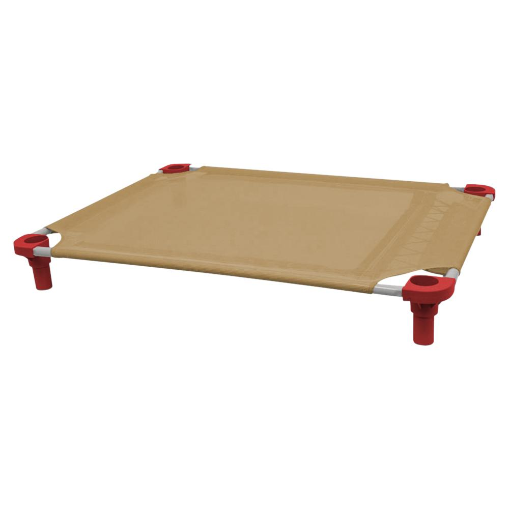 40x30 Pet Cot in Tan with Red Legs, Unassembled